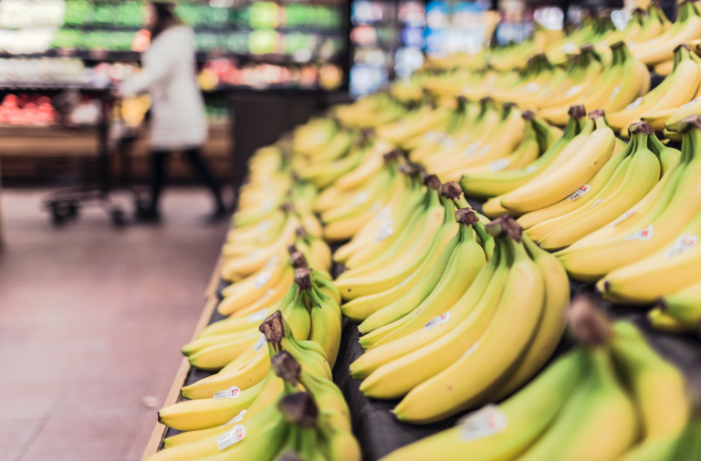 Rows of bananas in a supermarket
