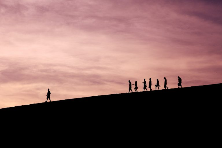 A group of people follow a leader across a mountain